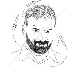 نقاشی سیاه و سفید شهید تهرانی مقدم